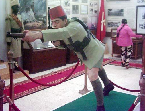 Display Showing an Egyptian in Combat