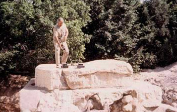 German Professor  Forkman on top of the Alabaster tomb in Alexandria