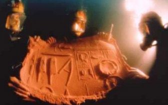 Divers of the coast of Alexandria create a mold of hieroglyph inscriptions carved on an obelisk dating to Seti I