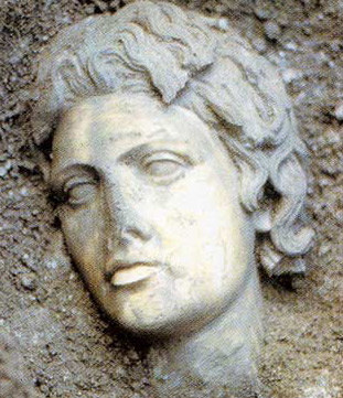A fine Head of a statue of Alexander the Great in the Museum
