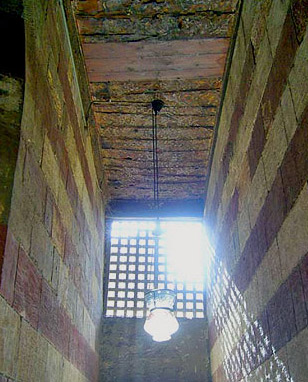 View of the entrance passageway showing the decorated ceiling of the mosque