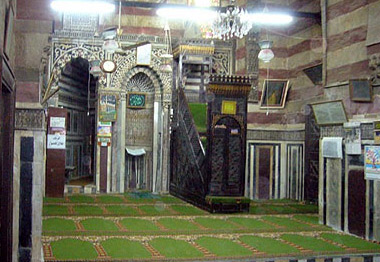 Interior view of the Qibla Iwan and the wooden Mimbar