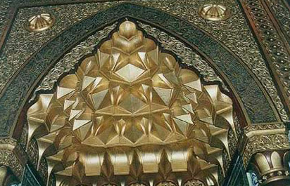 "Fabulous golden decorations and Islamic designs in the eastern Ewan ""El-Kiblah""."