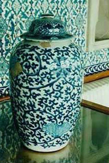 A porcelain vase coloured in white and blue