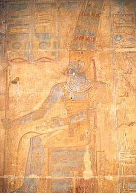A relief of Amun in the temple, with his name excised by Tuthmosis IV