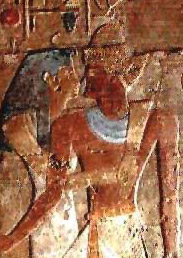 An image of Pharaoh and an unknown goddess from the Temple of Amada