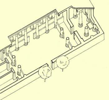 Isometric view of a main hall in an Amarna house
