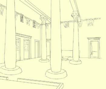 Prospective of the central hall in the house of the vizier, Nakht