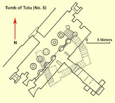 The more complex layout of the tomb of Tutu with borad and deep halls