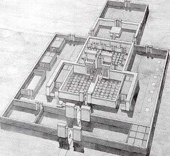 A recreated view of the sanctuary of the Great  Aten Temple
