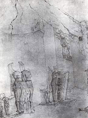 A Robert Hay drawing of one of the Boundary  Stela