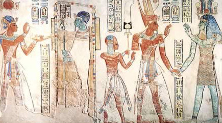 Scenes on the left wall of the antechamber of Ptah, Ptah-Tatenen