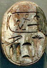 Scarab bearing  inscriptions to Amenhotep III