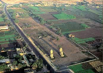Arial view of the Colossus of Memnon
