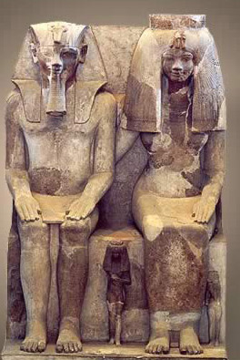 A statue of Amenhotep III and his queen
