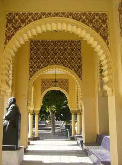 Walkway though a Pavilion with a Statue of Ahmed Shawky