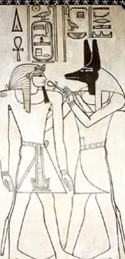 Amenhotep II receives life from Anubis from his tomb in the Valley of the Kings