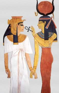 Nefertari receives life  from Isis from her tomb in the Valley of the Queens