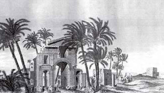 A painting of the triumphal arch from Description de l'Egypte (1809)