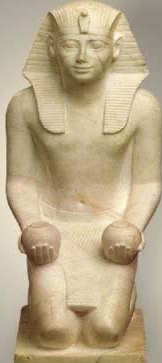 The frontal view of a  Statue of Tuthmosis III Kneeling from the 18th Dynasty