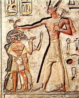 Ramesses II showing a typical pose while smiting enemies of egypt