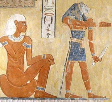 Scene from the Tomb of  Khaemwaset, Valley of the Queens with hieroglyphs balancing the  composition