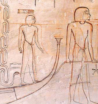 drawing showing red  outlines and corrective black lines from the tomb of Horemheb KV 57