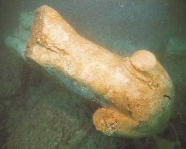 A statue fragment in the waters off the coast of Alexandria