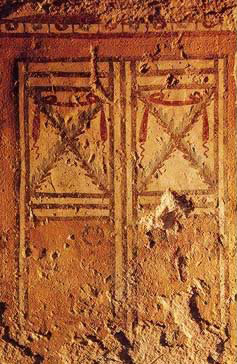A slab covering a loculi in an Alexandria tomb made to resemble a door