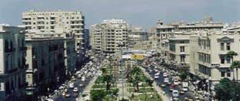 View down a main avenue in modern Alexandria