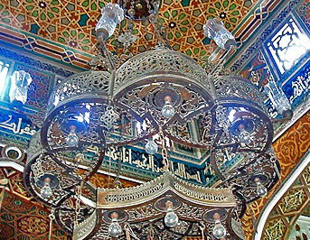 Looking up into the shokhsheikha past a lantern