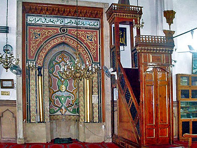 A view of the Mihrab and to it's left, the minbar