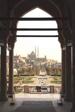 A view out of the Hillside Park towards the Citadel and the Mosque of Mohammed Ali