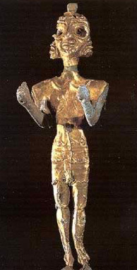 The figure of Baal in gold and silver foil