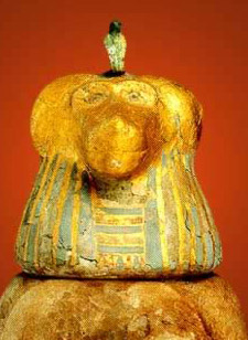 A conopic jar with the head of Hapy in the form of a baboon