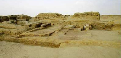 A part of the ancient temple dating to the Ptolemaic Period at Bacchias in the Fayoum