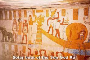 Solar boat of the Sun God Ra at the Tomb of Thaty in Bahariya Osis, Egypt