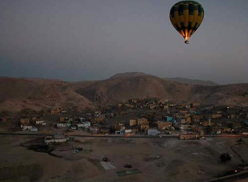 A Balloon In the Early Morning over Luxor's West Bank in Egypt