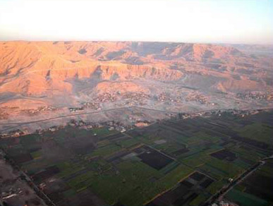 High up over the West Bank at Luxor, Egypt
