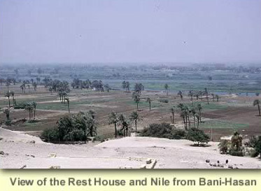 An overview of the Rest House and Nile from Beni Hasan