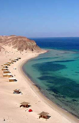 The stretch of beach at Basata in the Egyptian Sinai