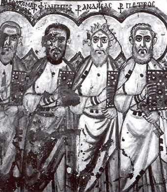 The apostles Bartholomew, Philip, Andrew and Peter from a wall painting at Bawit