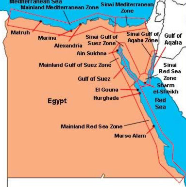 A map showing the different beach zones on Egypt's coastlines