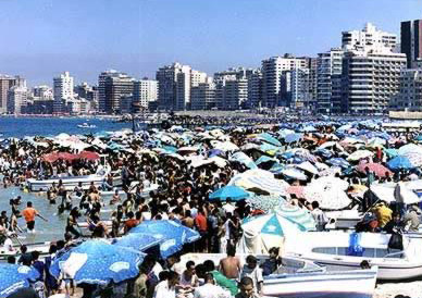 A crowded beach at Alexandria