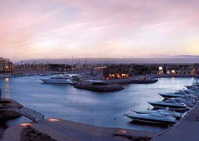The Abu Tig Marina at Dusk in the upscale resort community of El Gouna