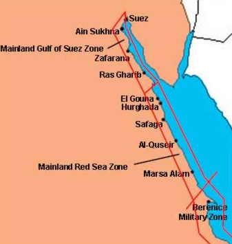 Beach Vacations In Egypt Part III Egypts Mainland Gulf Of Suez - Map of egypt red sea area
