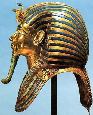 King Tutankhamun's funerary mask with a beard in the shape of a god's