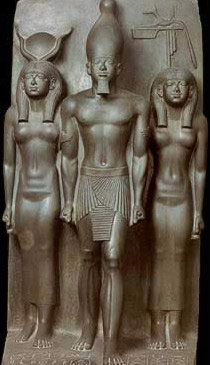 Triad of Menkaure with hathor holding his hand