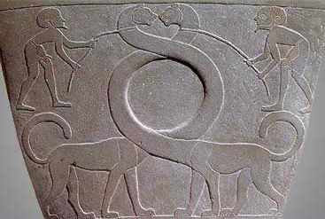 The Narmer palette showing serpopards with entwined necks