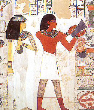 In this tomb scene from that of Nakht on the West Bank at Luxor, note the clear difference in skin color between Nakht and his wife, Tawy